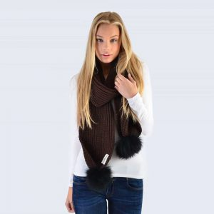 Chocolate Scarf with Black Fur Pom Poms