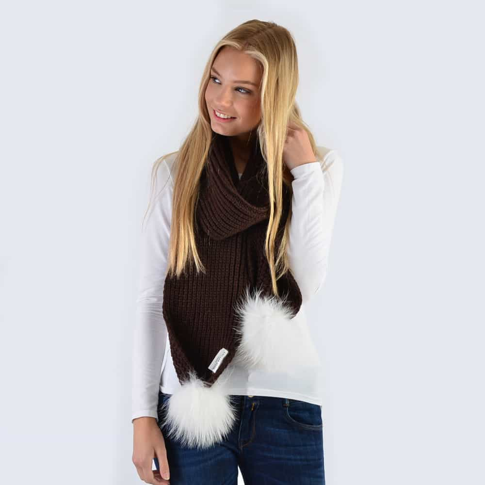 Chocolate Scarf with White Fur Pom Poms