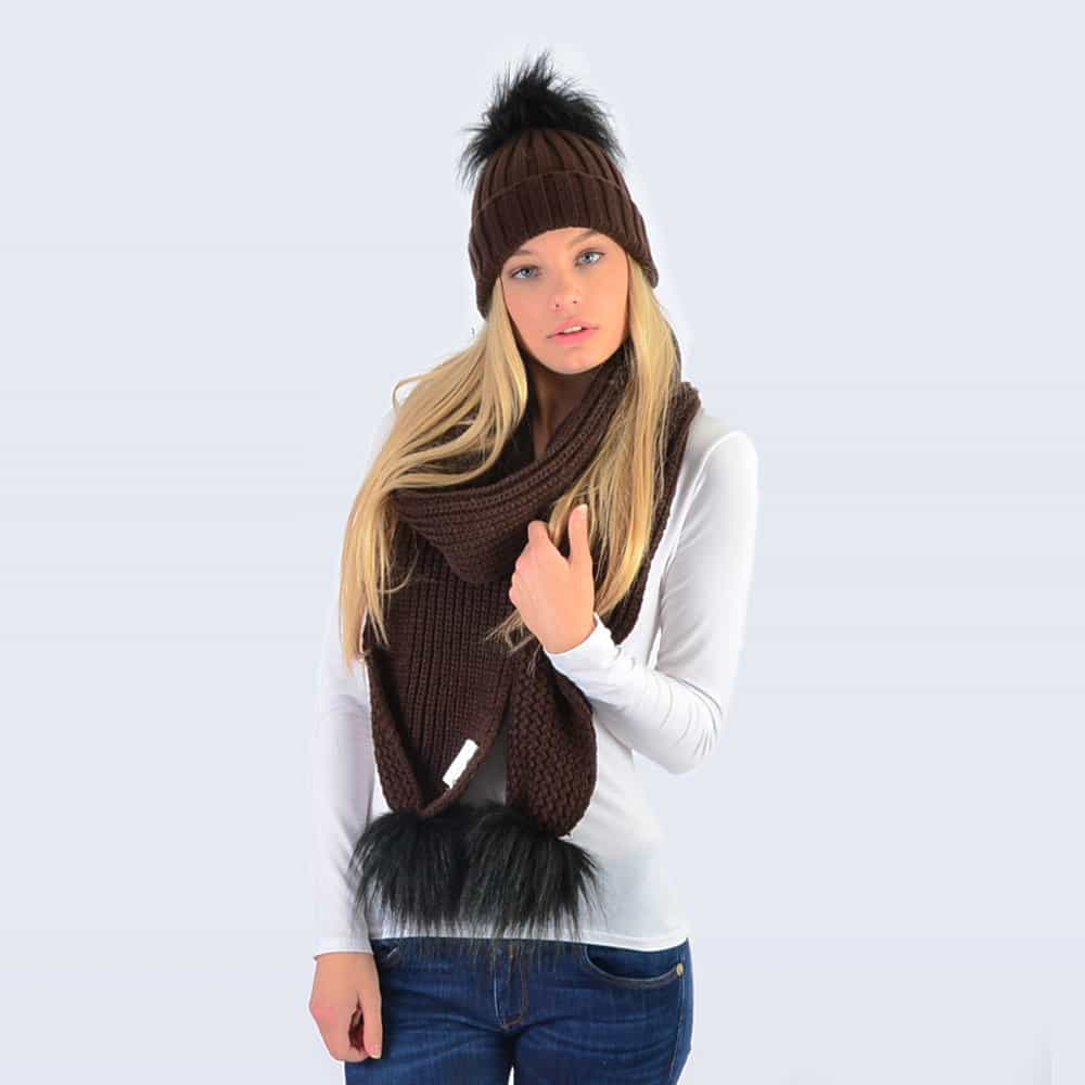 Chocolate Set with Black Faux Fur Pom Poms