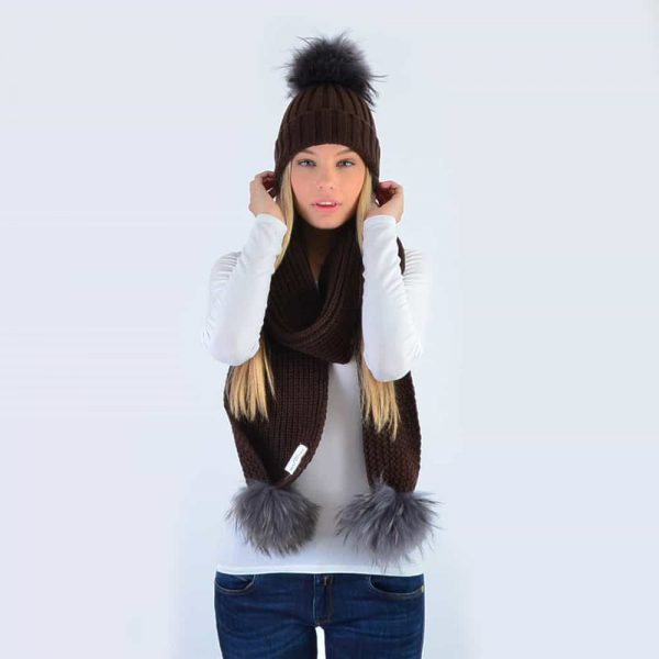 Chocolate Set with Grey Fur Pom Poms