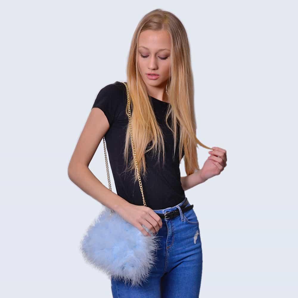 Feather Bag Sky Blue