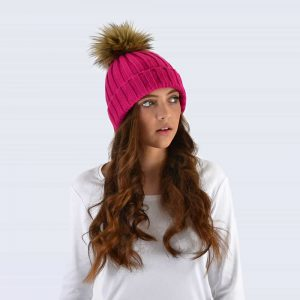 Fuchsia Hat with Brown Faux Fur Pom Pom