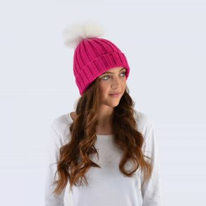 Fuchsia Hat with White Faux Fur Pom Pom
