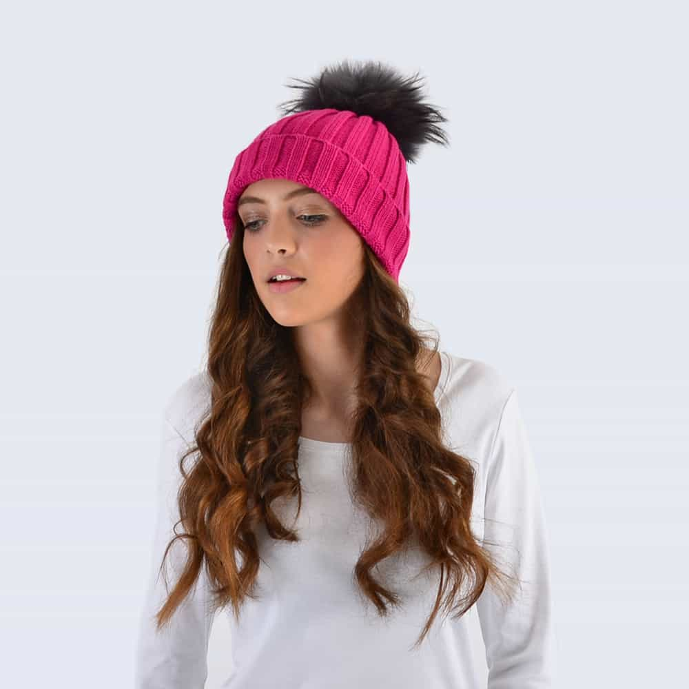Fuchsia Hat with Grey Fur Pom Pom