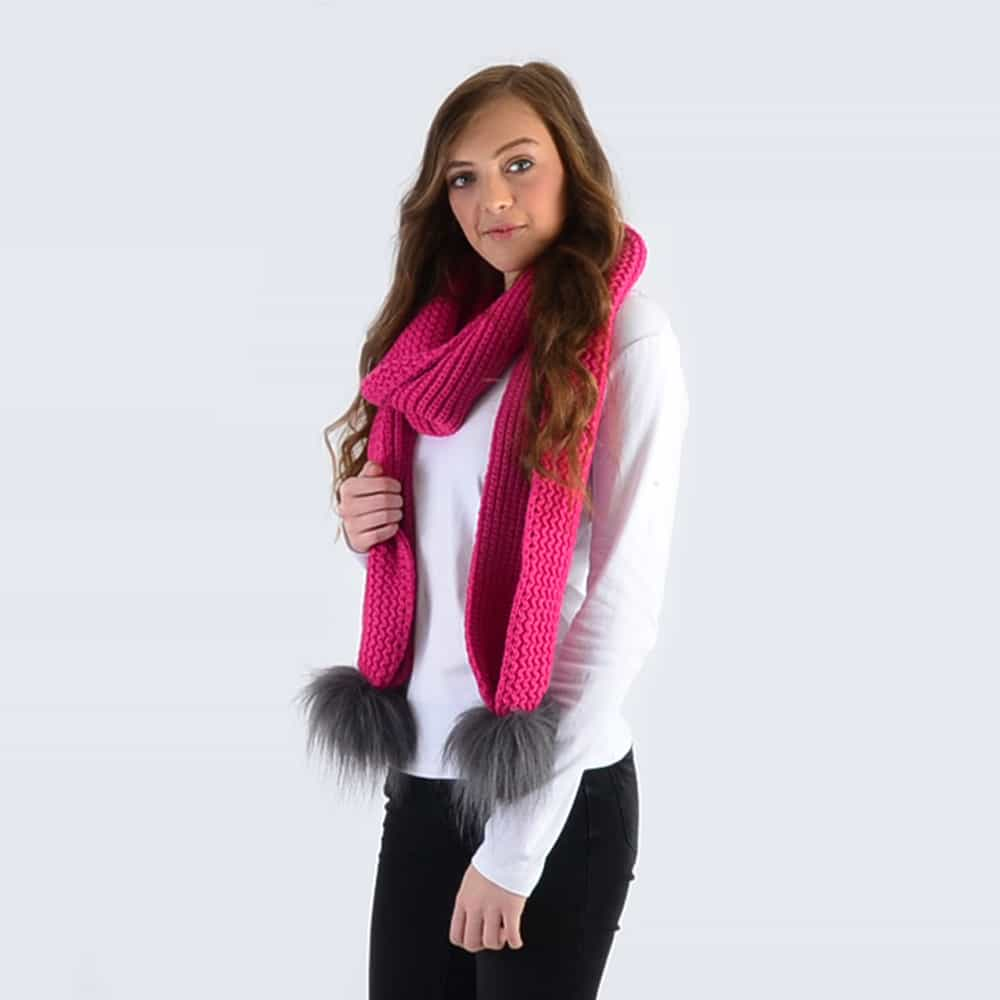 Fuchsia Scarf with Grey Faux Fur Pom Poms