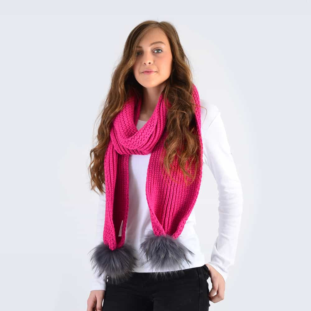 Fuchsia Scarf with Grey Fur Pom Poms