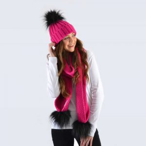 Fuchsia Set with Black Faux Fur Pom Poms