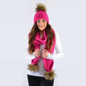Fuchsia Set with Brown Faux Fur Pom Poms