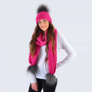 Fuchsia Set with Grey Faux Fur Pom Poms