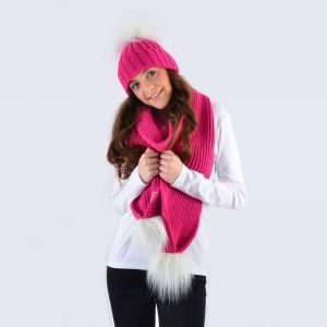 Fuchsia Set with White Faux Fur Pom Poms