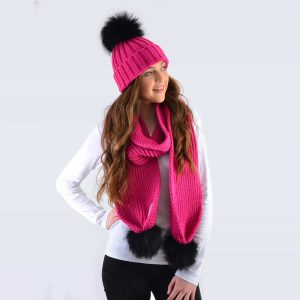 Fuchsia Set with Black Fur Pom Poms