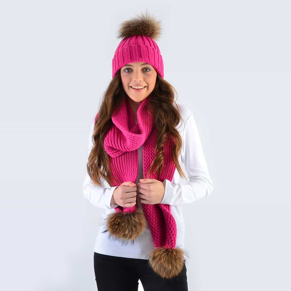 Fuchsia Set with Brown Fur Pom Poms