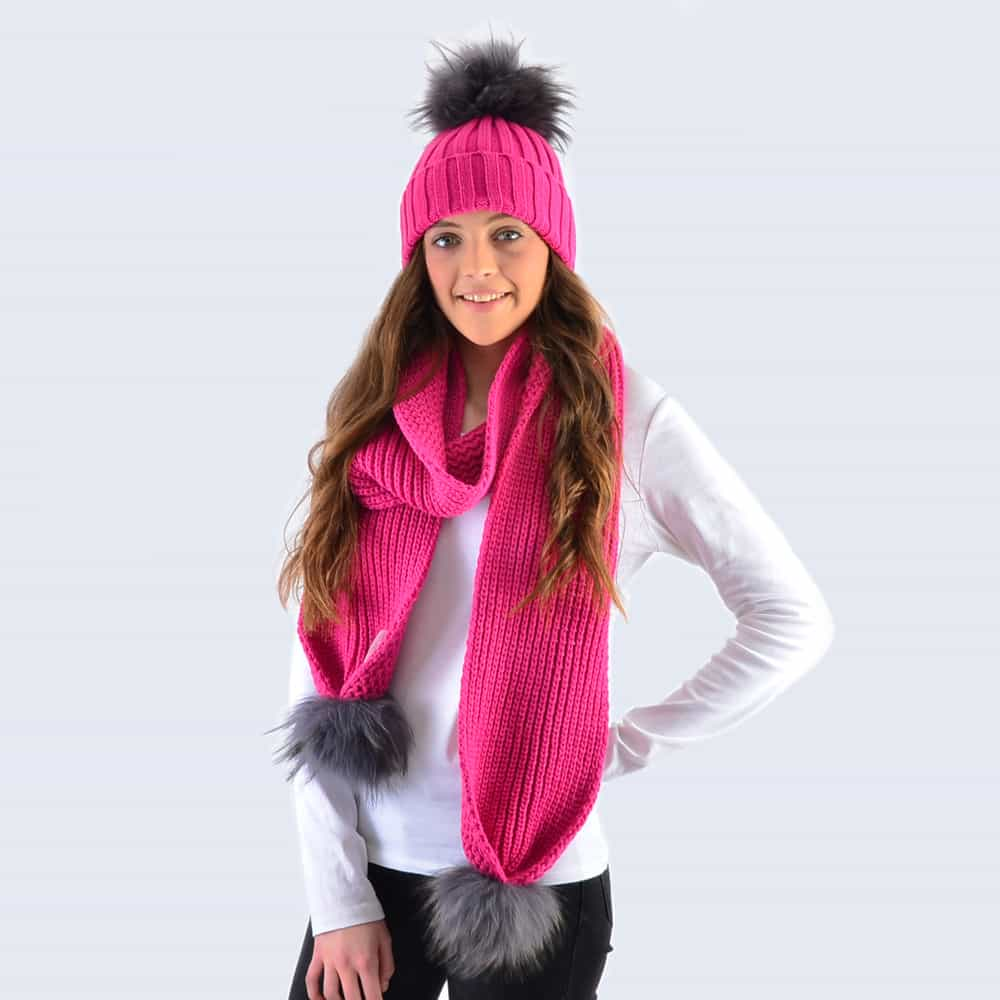 Fuchsia Set with Grey Fur Pom Poms