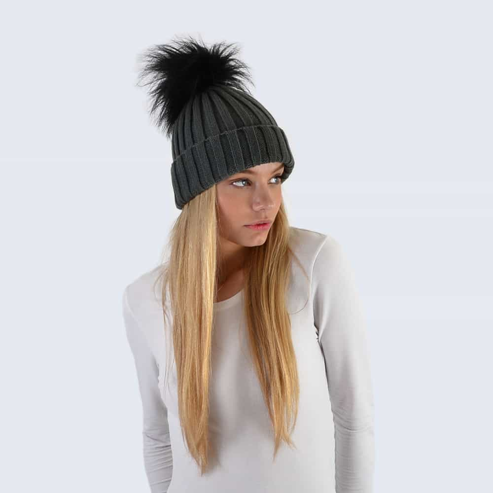 Grey Hat with Black Faux Fur Pom Pom