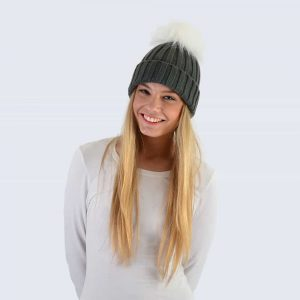 Grey Hat with White Faux Fur Pom Pom