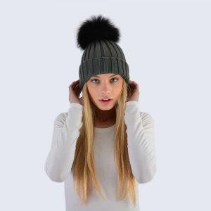 Grey Hat with Black Fur Pom Pom