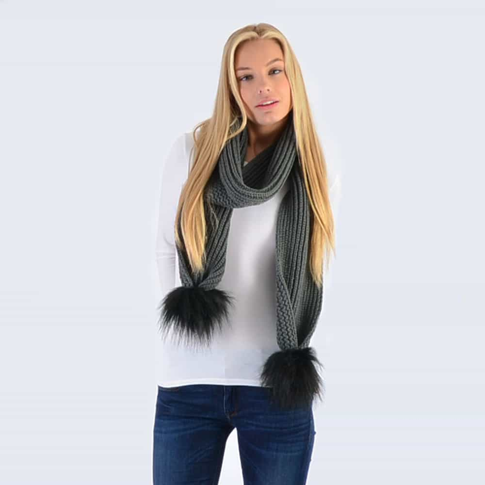 Grey Scarf with Black Faux Fur Pom Poms