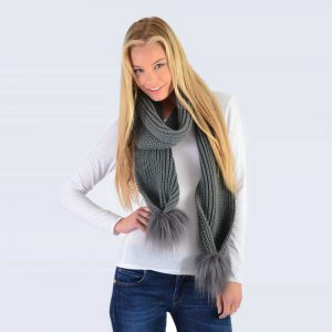 Grey Scarf with Grey Faux Fur Pom Poms