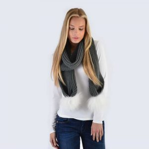 Grey Scarf with White Fur Pom Poms