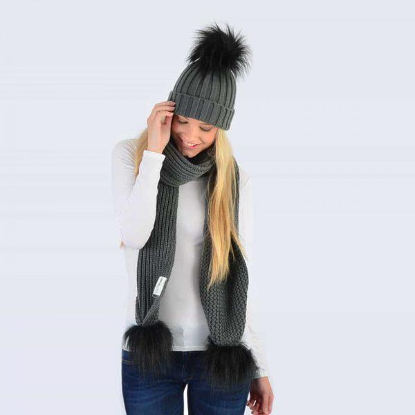 Grey Set with Black Faux Fur Pom Poms