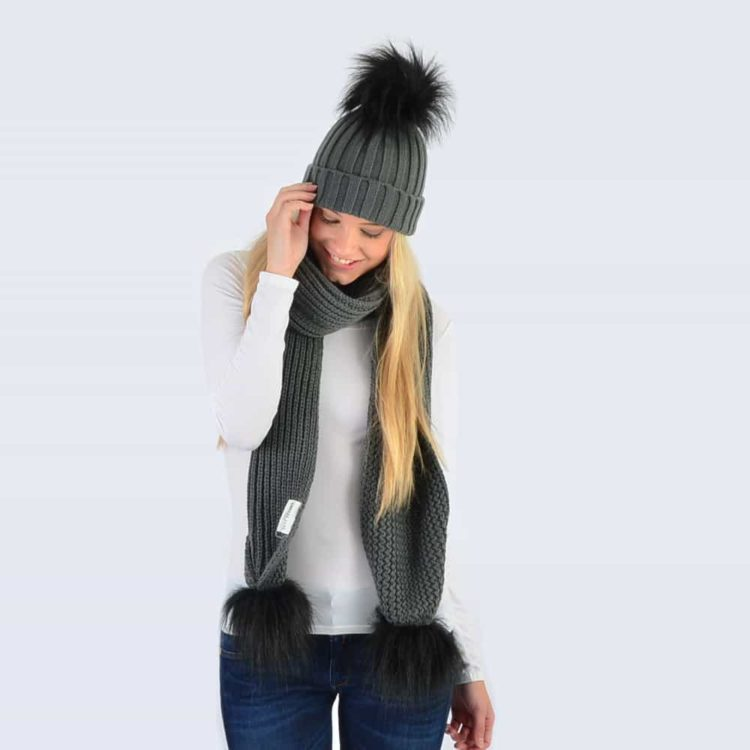 Grey Set with Black Faux Fur Pom Poms