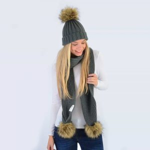 Grey Set with Brown Faux Fur Pom Poms