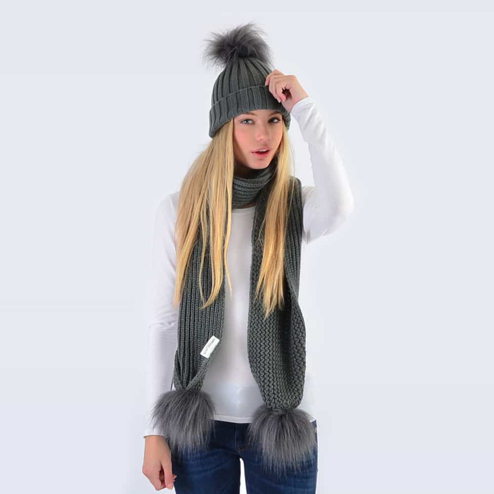Grey Set with Grey Faux Fur Pom Poms