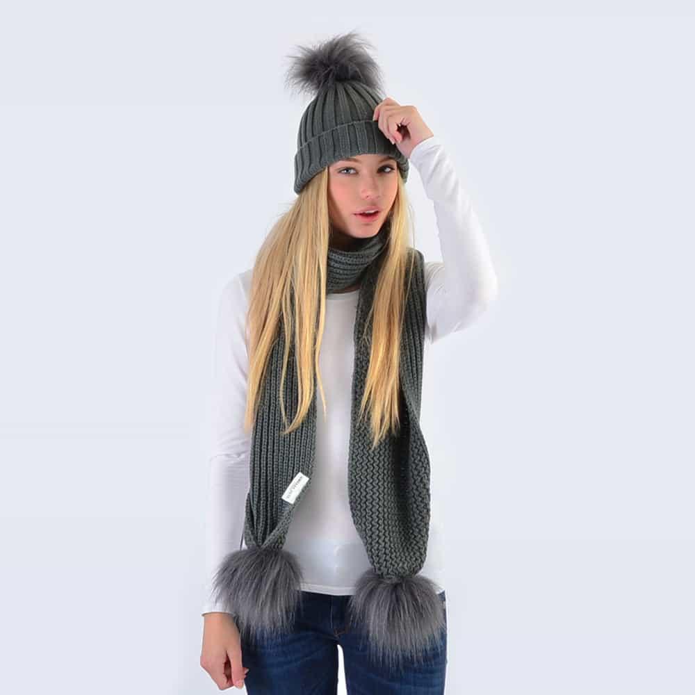 d7f97fe50da35 Grey Set with Grey Faux Fur Pom Poms » Amelia Jane London