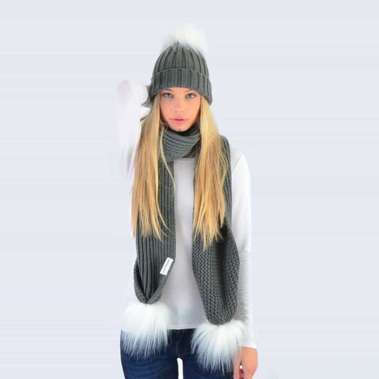 Grey Set with White Faux Fur Pom Poms
