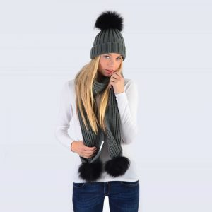 Grey Set with Black Fur Pom Poms