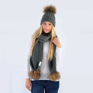 Grey Set with Brown Fur Pom Poms