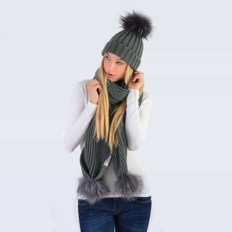Grey Set with Grey Fur Pom Poms