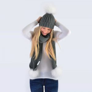 Grey Set with White Fur Pom Poms