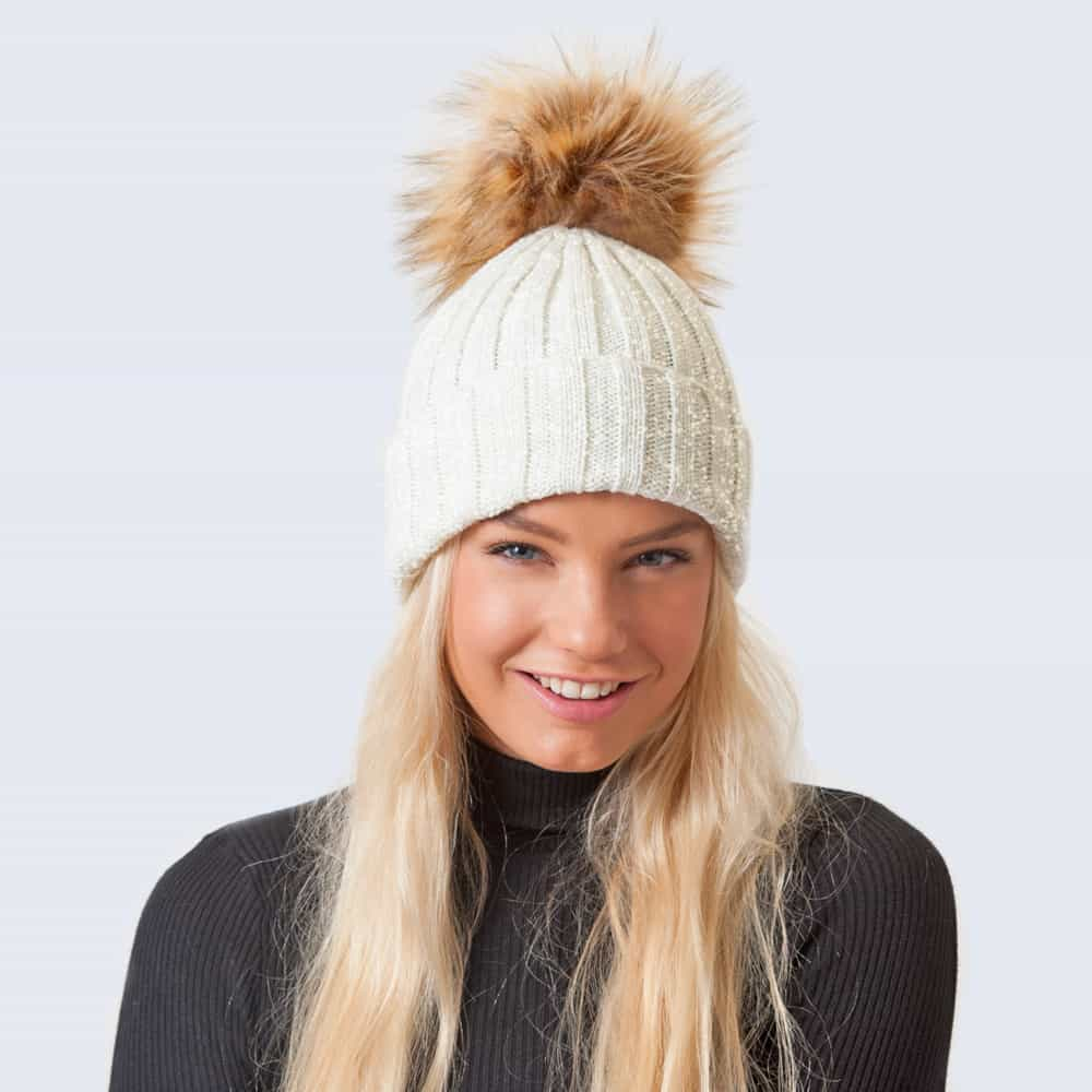 Sparkle Hat Ivory and Silver with Brown Faux Fur Pom Pom