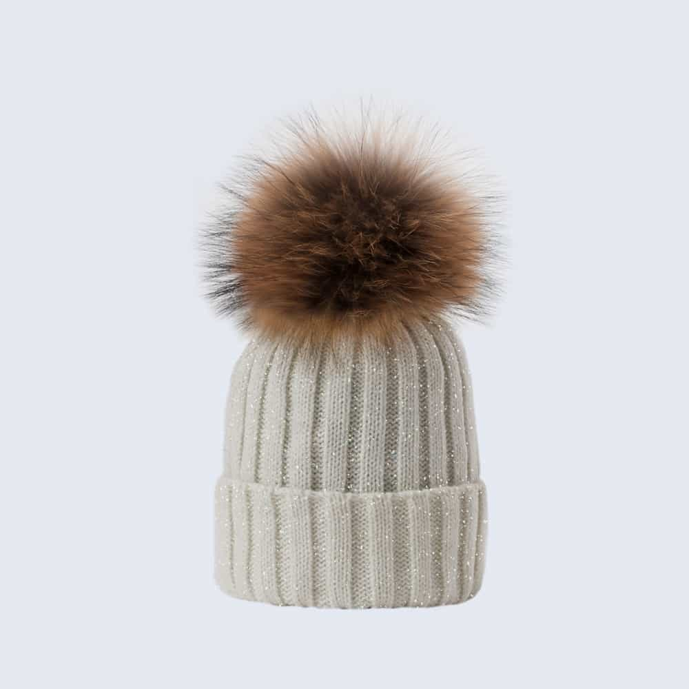 Sparkle Hat Ivory and Silver with Brown Fur Pom Pom