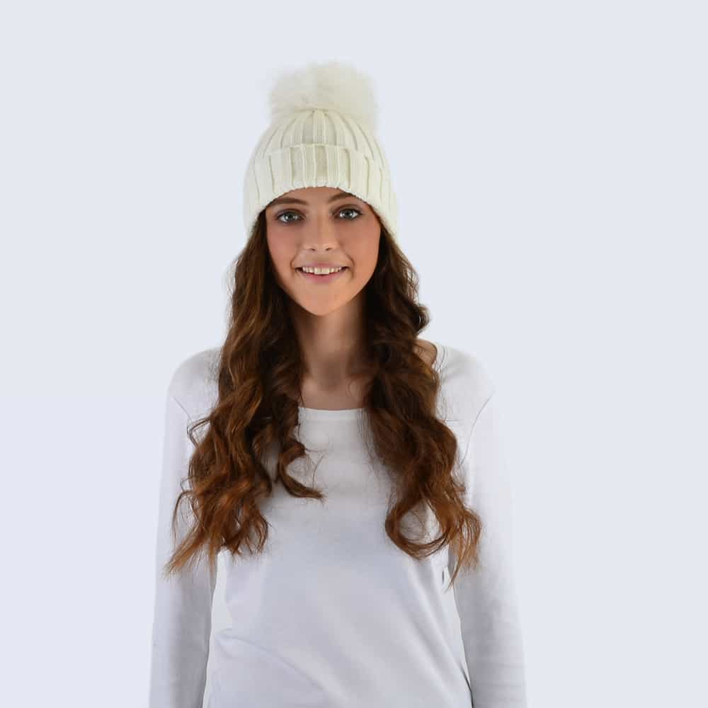 Ivory Hat with White Faux Fur Pom Pom
