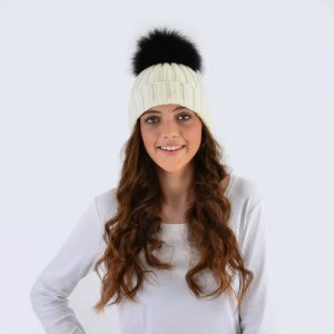 Ivory Hat with Black Fur Pom Pom