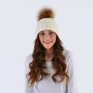 Ivory Hat with Brown Fur Pom Pom
