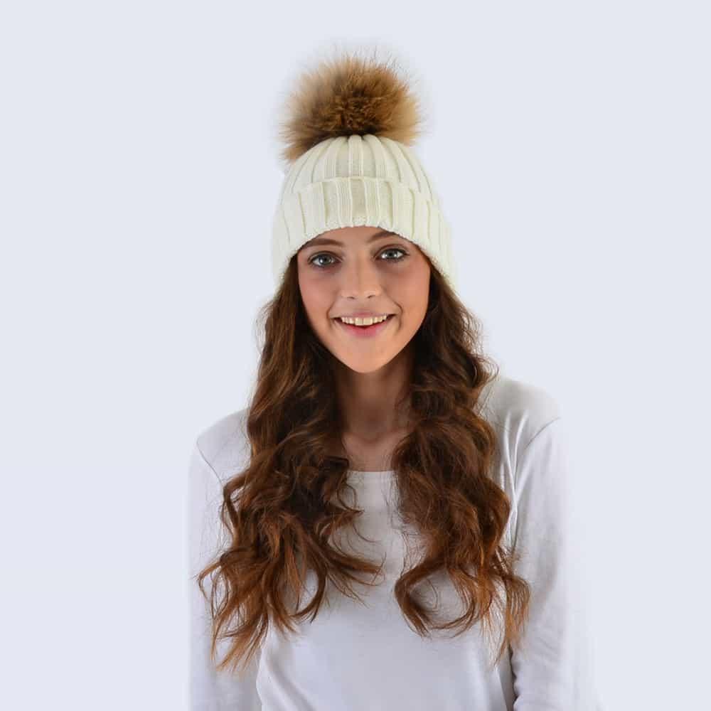 Ivory Hat with Brown Fur Pom Pom