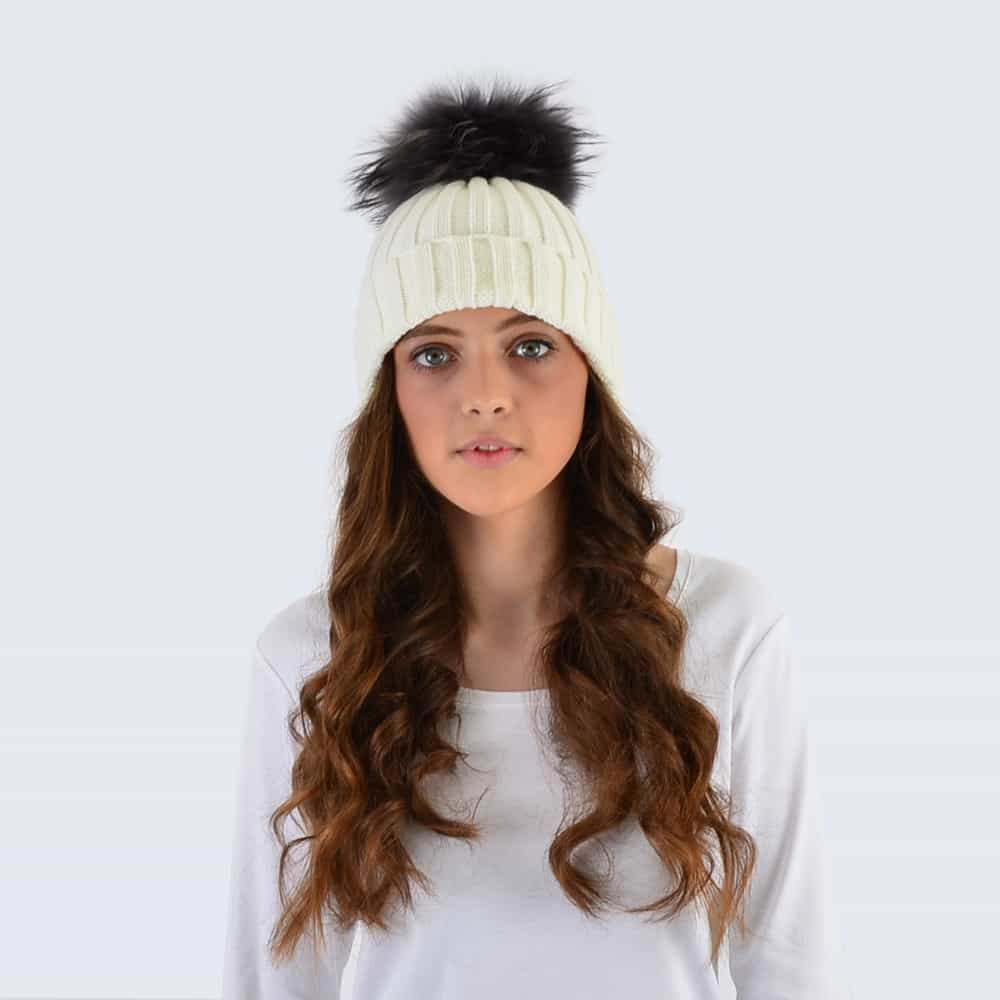 Ivory Hat with Grey Fur Pom Pom