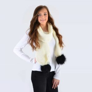 Ivory Scarf with Black Fur Pom Poms