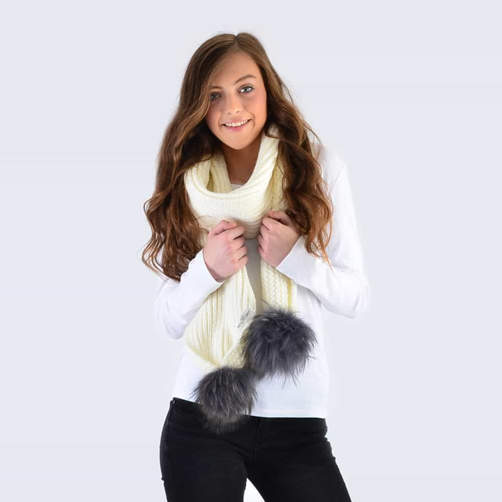 Ivory Scarf with Grey Fur Pom Poms