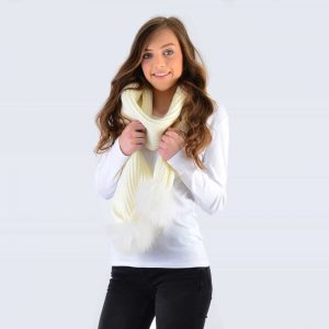 Ivory Scarf with White Fur Pom Poms