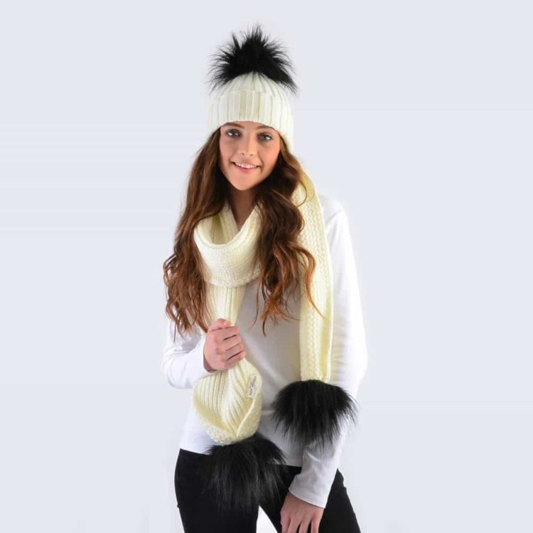 Ivory Set with Black Faux Fur Pom Poms