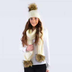 Ivory Set with Brown Faux Fur Pom Poms