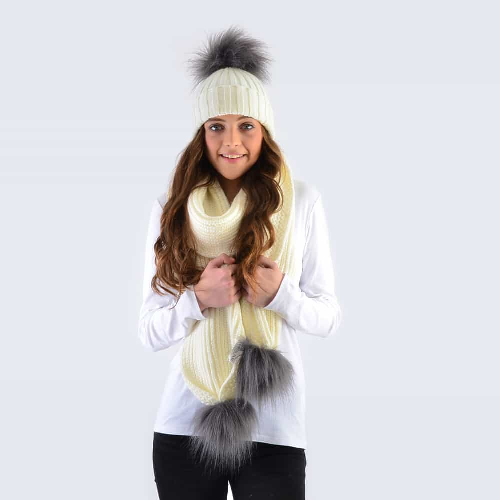 Ivory Set with Grey Faux Fur Pom Poms