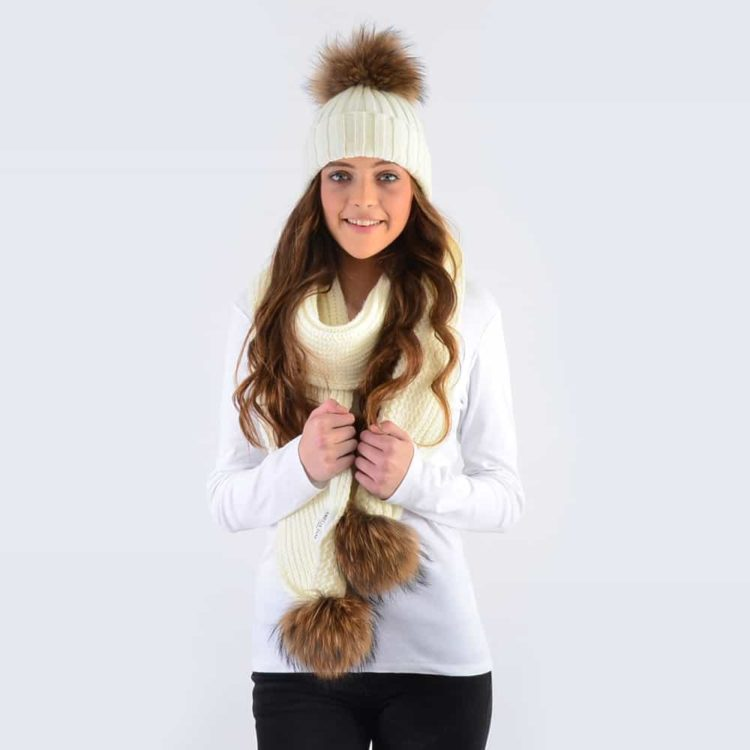 Ivory Set with Brown Fur Pom Poms