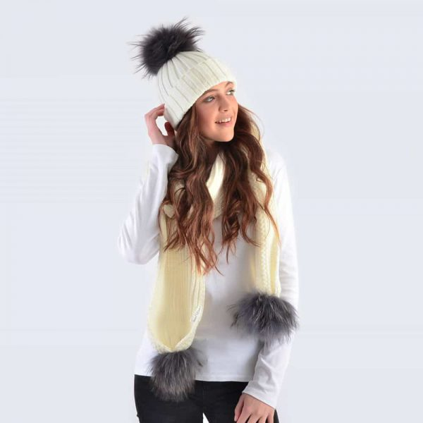 Ivory Set with Grey Fur Pom Poms