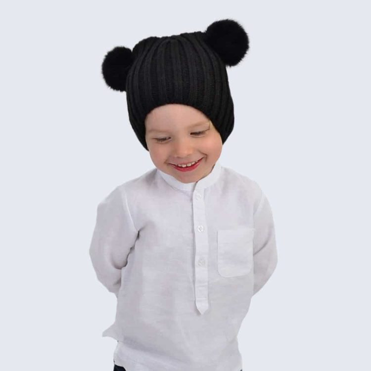 Tiny Tots Black Double Pom Pom Hat