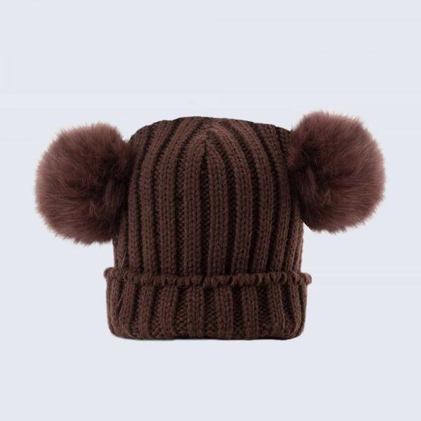 Tiny Tots Chocolate Double Pom Pom Hat (Brown)